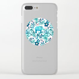 Dusty Pink, White and Teal Elephant and Floral Watercolor Pattern Clear iPhone Case
