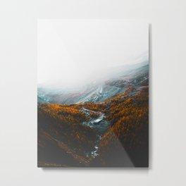 Aerial View Of Orange Autumn Forest Appalachian Mountains Metal Print