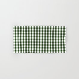 Dark Forest Green and White Gingham Check Hand & Bath Towel