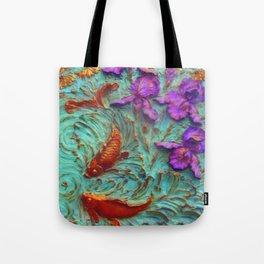 DIMENSIONAL PURPLE IRIS FLOWERS & GOLDEN KOI FISH Tote Bag