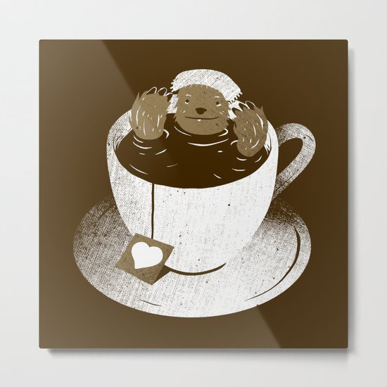 Monday Bath Sloth Coffee Metal Print