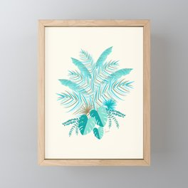 Turquoise Tropical Leaves Pattern Framed Mini Art Print