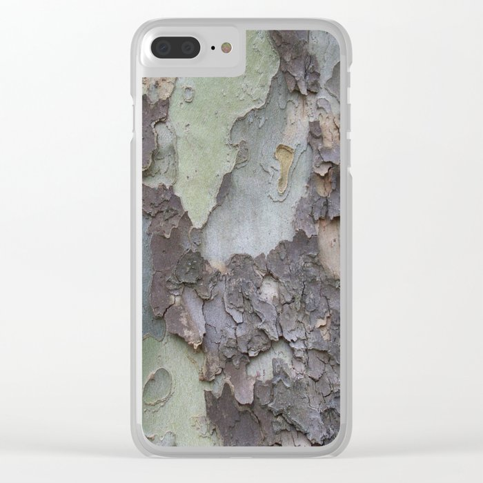 sycamore bark with a green tinge Clear iPhone Case