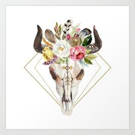 Boho flowers geometric bull skull Art Print