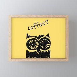 Coffee? Morning owl print Framed Mini Art Print