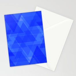 Gentle dark blue triangles in the intersection and overlay. Stationery Cards