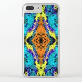 psychedelic graffiti geometric drawing abstract in orange yellow blue purple Clear iPhone Case