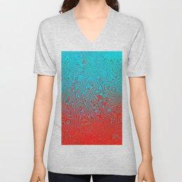 Aqua Red Unisex V-Neck