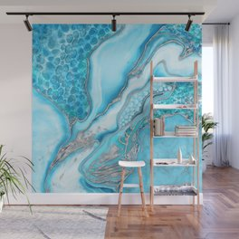 Liquid Marble -Blue quartz and gemstones Wall Mural