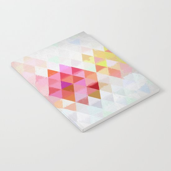 Abstract pink pastell triangle pattern- Watercolor illustration Notebook