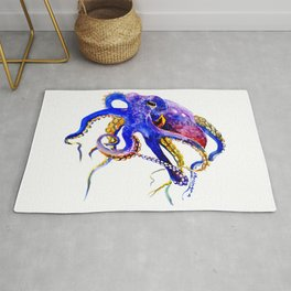 Octopus, Blue, Gold,Purple Rug
