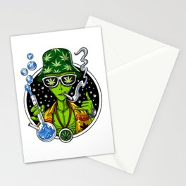 Alien Smoking Weed Stationery Cards