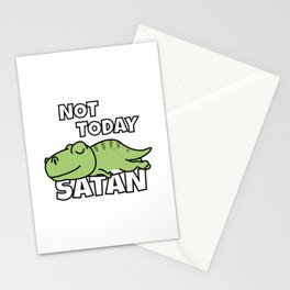 Not Today Satan Funny T-Rex Stationery Cards