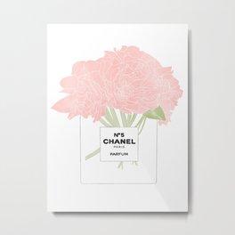 minimal no. 5 perfume with pink flowers Metal Print