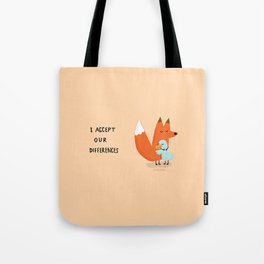Fox & Duck - I Accept Our Differences Tote Bag