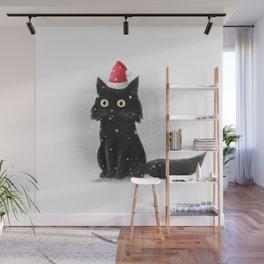 Santa Cat Wall Mural