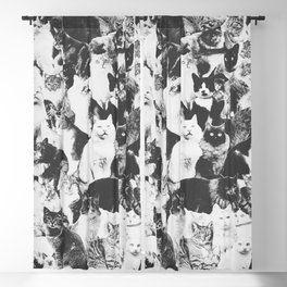 Cats Forever B&W Blackout Curtain