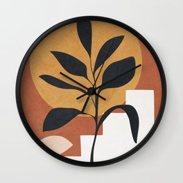 Abstract Plant Art Wall Clock