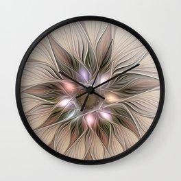 Joyful Flower, Abstract Fractal Art Wall Clock