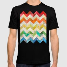 Chevron Rainbow Quilt Black MEDIUM Mens Fitted Tee
