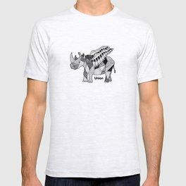 Illustrated Rhino – Union – Black T-shirt