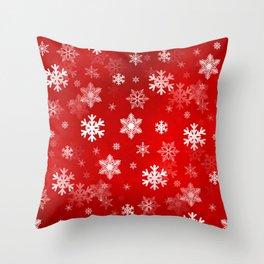 Light Red Snowflakes Throw Pillow