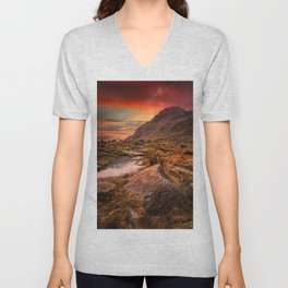 Tryfan Mountain Sunrise Unisex V-Neck