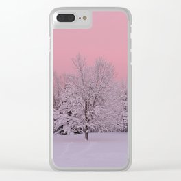 Pink Winter Sky and Snowy Trees Clear iPhone Case