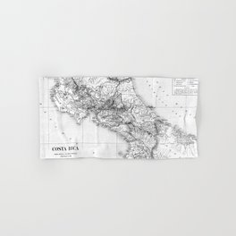 Vintage Map of Costa Rica (1903) BW Hand & Bath Towel
