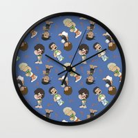 1d Wall Clocks featuring Sleepy 1D by Ashley R. Guillory
