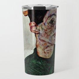 Egon Schiele  -  Self Portrait With Chinese Lantern Plant Travel Mug