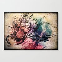 drum Canvas Prints featuring Drum by Joanne Chen