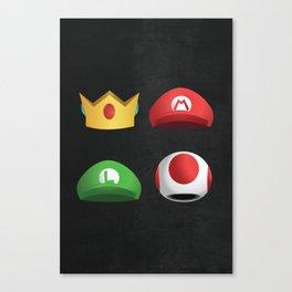 Super Mario Character Hats Canvas Print
