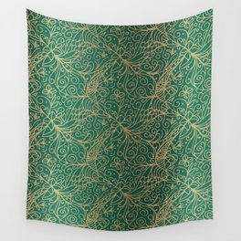 Gold and Green Tangle Pattern Wall Tapestry