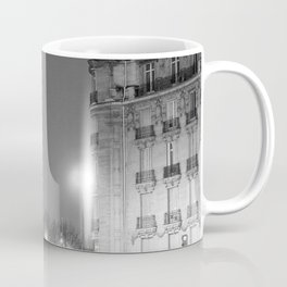 Eiffel Tower, Lighted at Night, Paris, France city lights black and white photography / photograph Coffee Mug