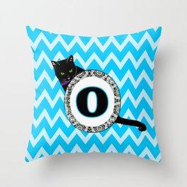 Letter O Cat Monogram Throw Pillow
