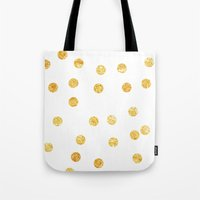 gold dots Tote Bags featuring Gold Dots by SPACE317