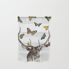 The Stag and Butterflies Wall Hanging