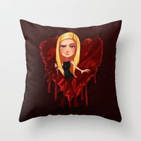buffy the vampire slayer Throw Pillows featuring Buffy the Heart Slayer by Isaiah K. Stephens