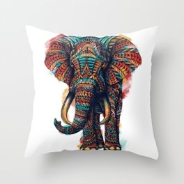 Ornate Elephant (Watercolor) Throw Pillow