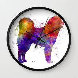 Akita Inu 01 in watercolor Wall Clock