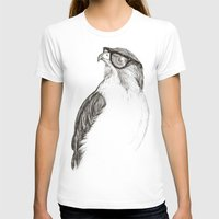 animals T-shirts featuring Hawk with Poor Eyesight by Phil Jones