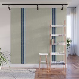 Blue Stripes on Linen color background French Grainsack Distressed Country Farmhouse Wall Mural