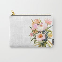 Soft Pink Peonies Asian watercolor Peonies, soft pink, olive green Carry-All Pouch