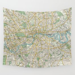 Vintage Map of London England (1900) Wall Tapestry