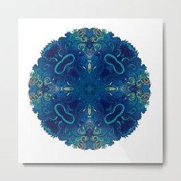 Blue Cobalt Indian Mandala Metal Print
