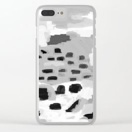 Turan - Black and white grey abstract painting modern home decor minimalist neutral trendy dorm Clear iPhone Case