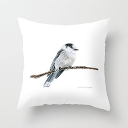 Gray Jay by Teresa Thompson Throw Pillow