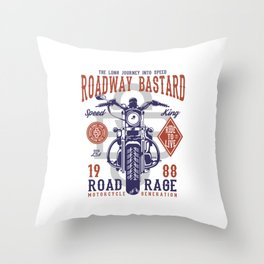 Roadway Bastard - Motocross, Motobike, Biker Stunts Throw Pillow