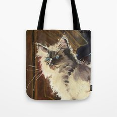The Magnificent Ascent of the Mighty Bear Detail (Ragdoll Kitten) Tote Bag
